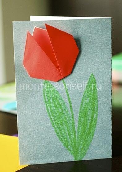 Открытка оригами на 8 марта