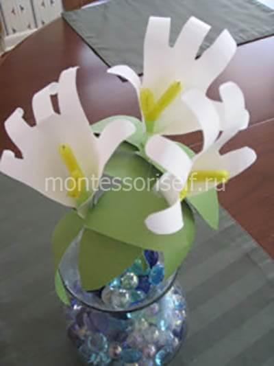 Цветы из детских ручек на 8 марта