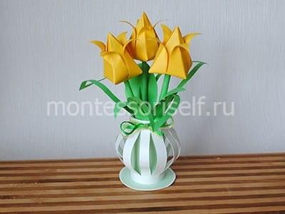 Букет желтых тюльпанов оригами