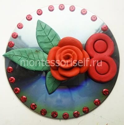 Цветок из пластилина на 8 марта