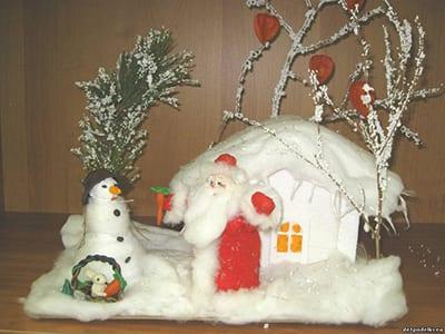 Новогодний домик со снеговиком и Дедом Морозом
