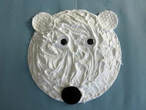 Поделка белый медведь из тарелки