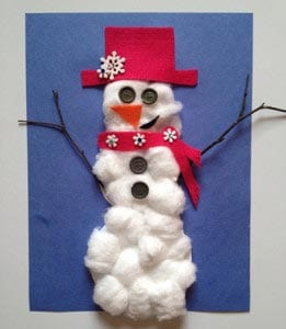 Поделка снеговик из ваты