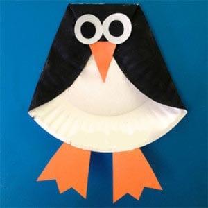 Пингвин из одноразовой тарелки