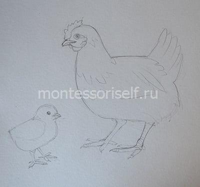 """Рисунок карандашом """"Курочка и цыпленок"""""""