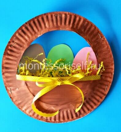 Пасхальная корзинка из одноразовых тарелок