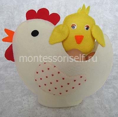 Курочка с цыпленком из фетра