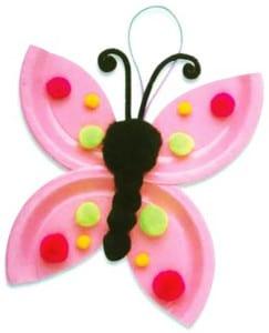 Бабочка из одноразовой тарелки