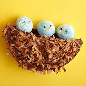 Поделка гнездо с птенцами