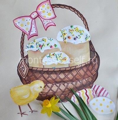 Весенний пасхальный рисунок с куличами