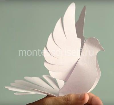 Белый голубь мира из бумаги на День Победы