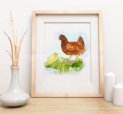 """Картина в подарок на пасху """"Курочка и цыпленок"""""""