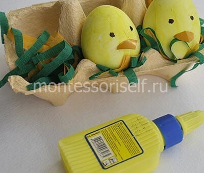 Пасхальные цыплятки из яичек