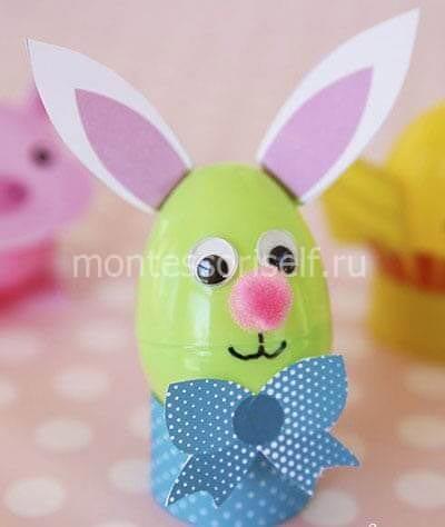 Пасхальный кролик из пластмассового яичка