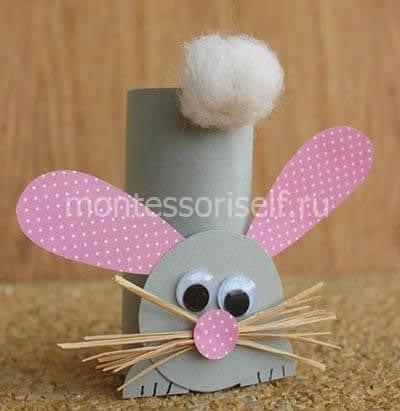 Пасхальный кролик из картонного рулона и бумаги