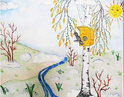 Весенний лес со скворечником