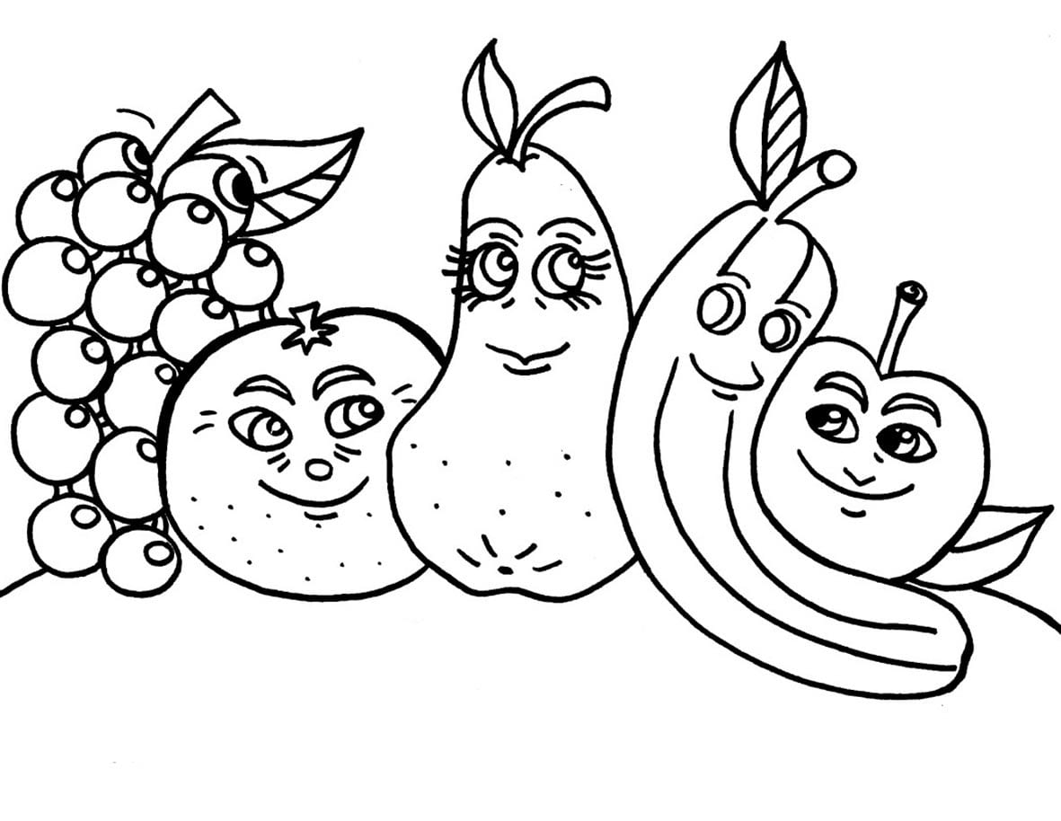 Раскраски фрукты для детского сада