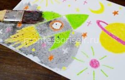 Рисунок мелками покрываем акварелью
