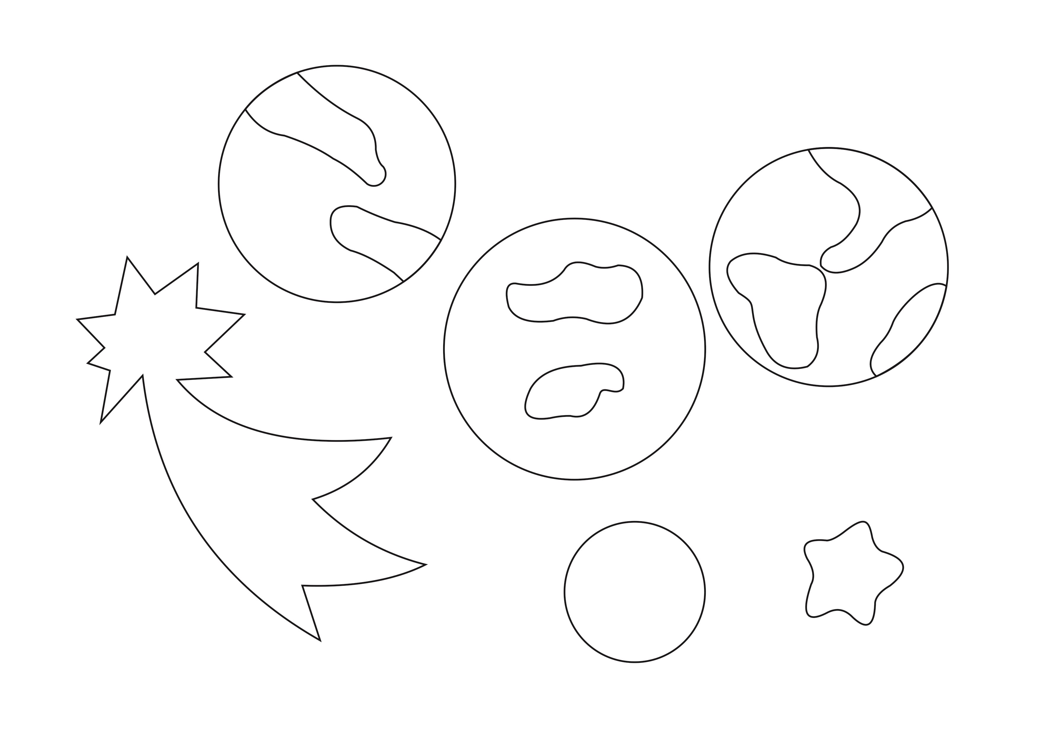 """Шаблон для вырезания на День Космонавтики """"планеты, звезда и комета"""""""