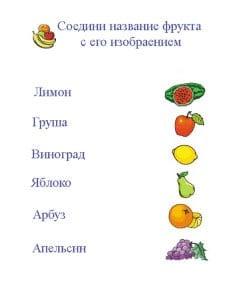 Соедини название фрукта с его изображением