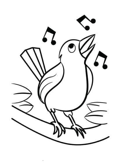 Раскраска поющая птица с нотами