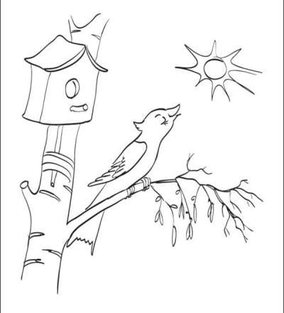 Птичка поет на березке