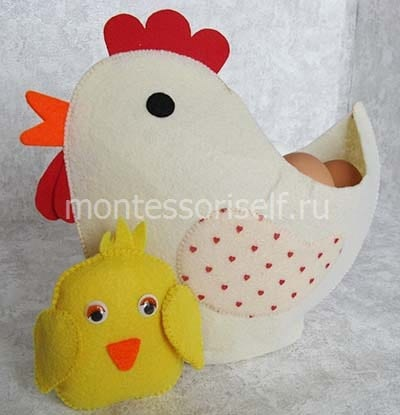 Курочка из цыпленок из фетра