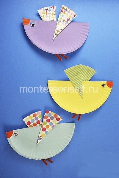 Птички из одноразовых тарелок