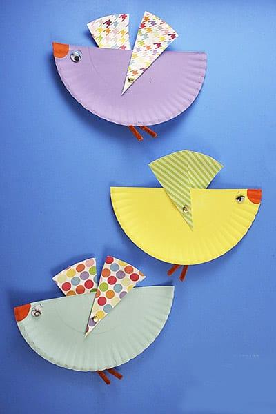 Птички из тарелок
