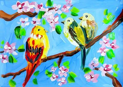 Рисунок весна с птичками и цветущей яблоней