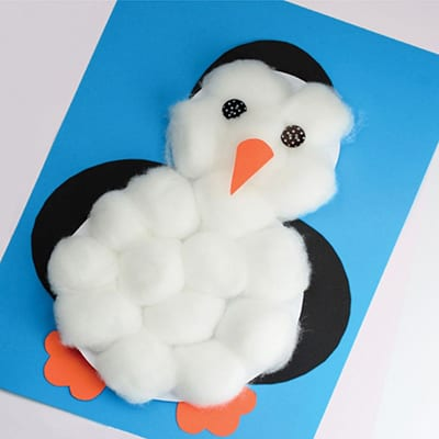 """Аппликация """"пингвин"""" из бумаги и ваты"""