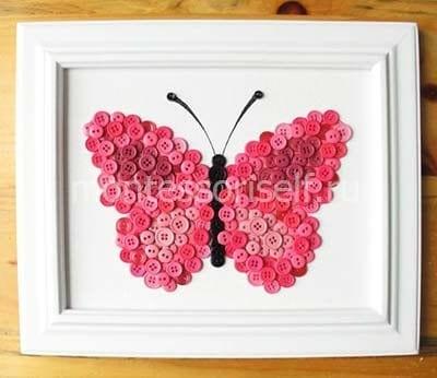 "Картина из пуговиц ""Бабочка"""