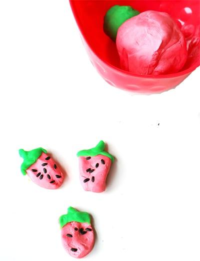 Strawberries from salt dough 3