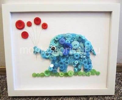 Слоник из пуговиц
