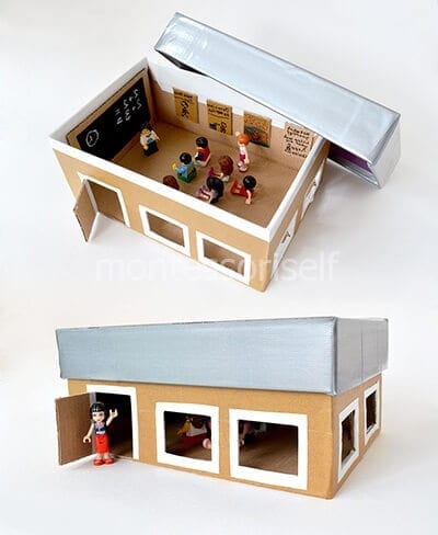 Школа из картонной коробки