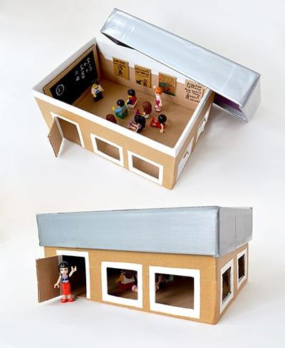 Школа из картонной коробки 1