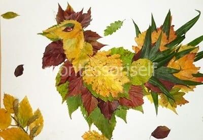 Петух из листьев