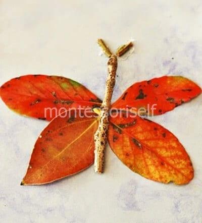 Бабочка из листьев и палочек