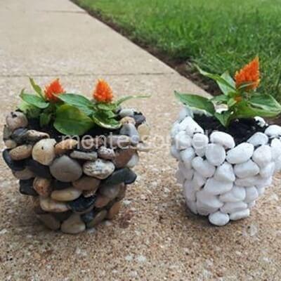 Цветочный горшок из камней