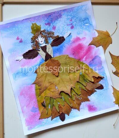 """Аппликация """"осень"""" из листьев"""