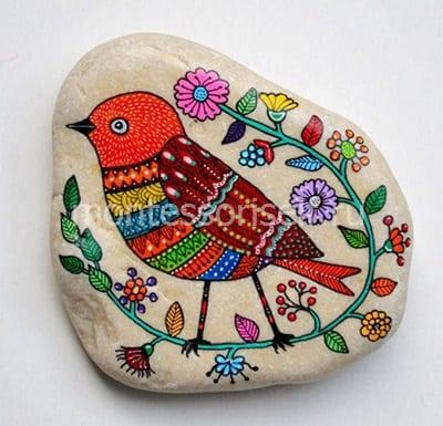 """Узор на камне """"сказочная птичка"""""""