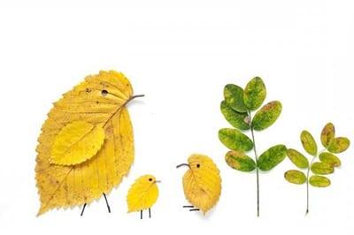 Семья птичек из листьев