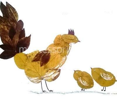 Петух с цыплятами из листьев