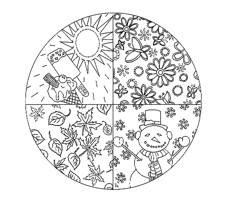 Раскраска круг с временами года