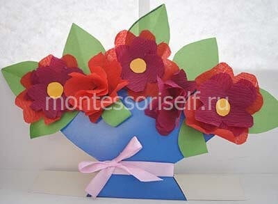 "Аппликация для мамы ""цветы в вазе"""