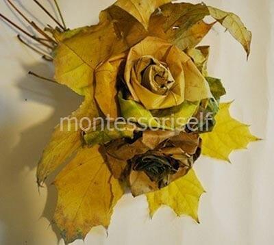 Осенняя поделка букет из листьев