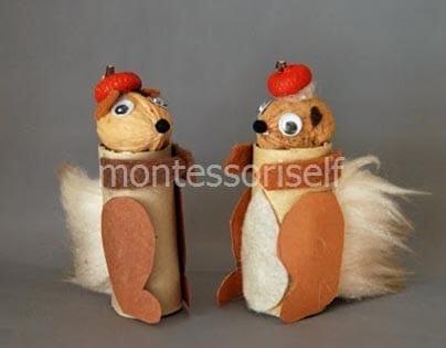 Белочка из орешка и картонного рулона