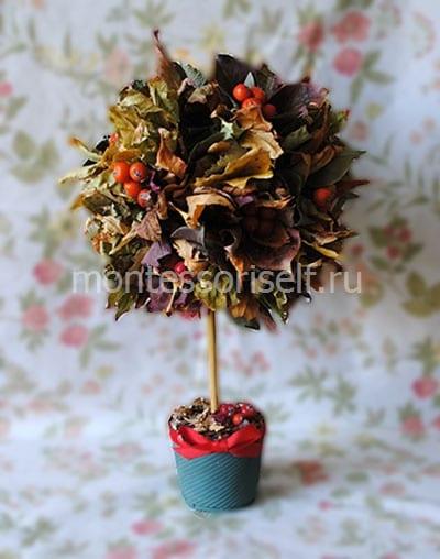 Топиарий (дерево счастья) из листьев