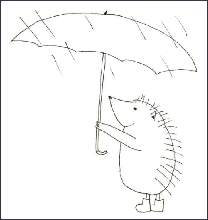 Раскраска ежик с зонтиком