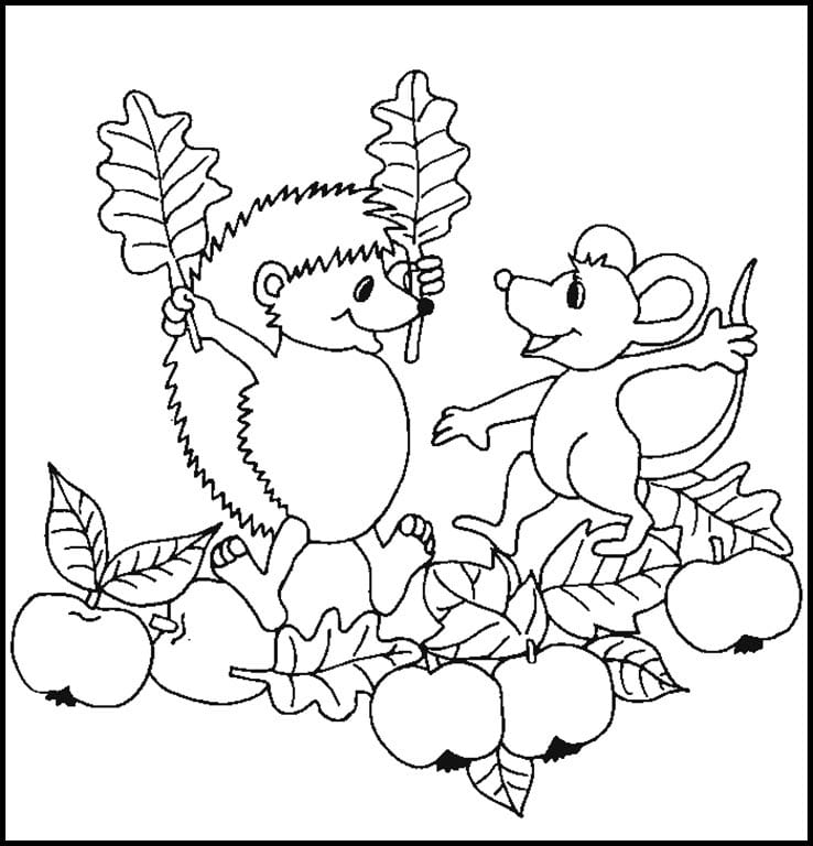 Раскраска ежик и мышонок